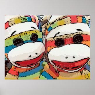 Poster del mono del calcetín póster
