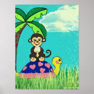 Poster del mono y de la tortuga por el villancico póster