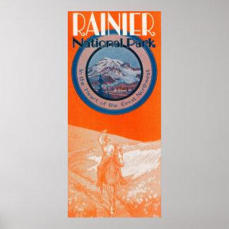 Poster del Monte Rainier - equitación