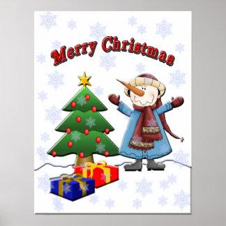 Poster del muñeco de nieve de las Felices Navidad
