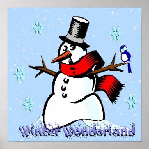 Poster del muñeco de nieve del país de las maravil