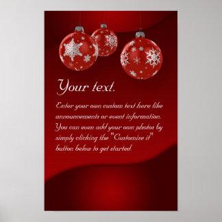 Poster del navidad con los ornamentos