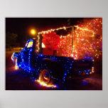 Poster del navidad de la camioneta pickup del país