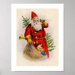 Poster del navidad de Papá Noel del vintage