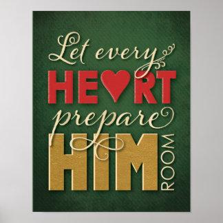 Poster del navidad - deje cada corazón prepararlo