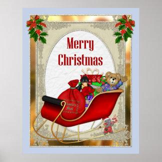 Poster del navidad del trineo de Santa