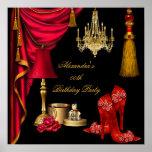 Poster del negro del oro de la mujer de lujo roja