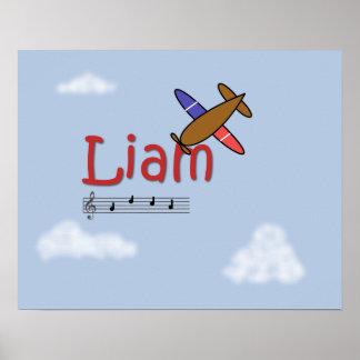 Poster del nombre del aeroplano de Liam