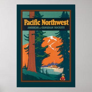 Poster del noroeste pacífico del vintage