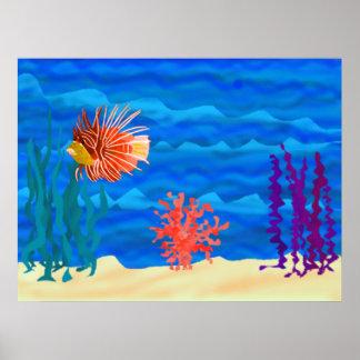 Poster del océano de los pescados del león