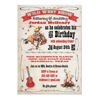 Poster del oeste salvaje de la invitación de la invitación 12,7 x 17,8 cm