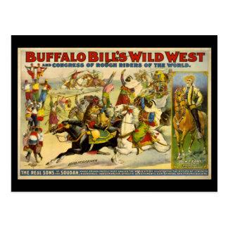 Poster del oeste salvaje de los vaqueros de Buffal Postales