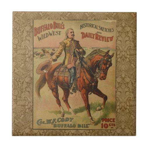 Poster del oeste salvaje occidental de la azulejo cuadrado pequeño