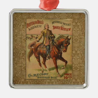 Poster del oeste salvaje occidental de la adorno cuadrado plateado