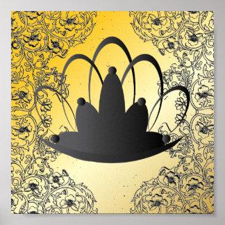 Poster del oro del negro de la tiara de Filegree d