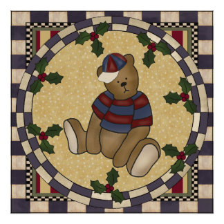Poster del oso de peluche del navidad póster