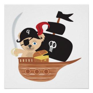 Poster del oso de peluche del pirata perfect poster