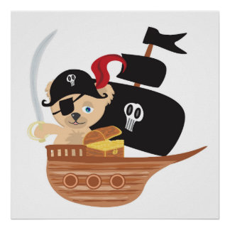 Poster del oso de peluche del pirata póster