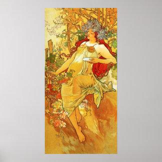 Poster del otoño de Alfonso Mucha