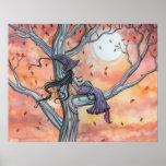 Poster del otoño del gato de la bruja por Molly Ha