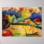 Poster del paisaje de Gauguin Tahitian