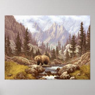 Poster del paisaje del oso grizzly