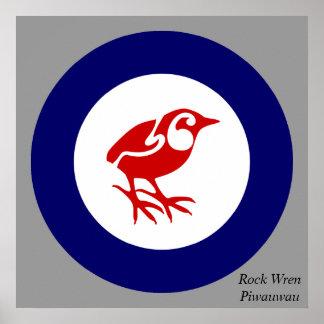 Poster del pájaro de Nueva Zelanda del Wren de roc