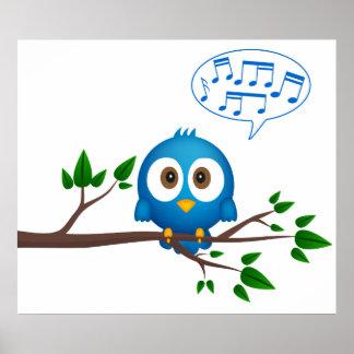 Poster del pájaro del canto