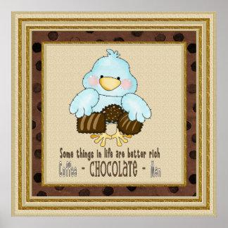Poster del pájaro del chocolate