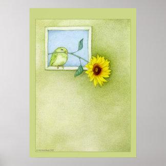 Poster del pájaro del girasol póster