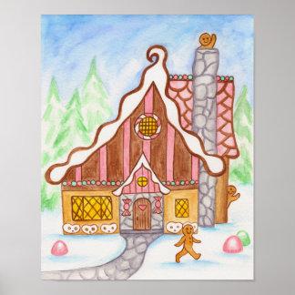 Poster del pan de jengibre de la casa de pan de je