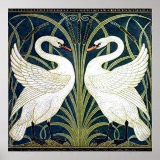 Poster del papel pintado del cisne y de la precipi