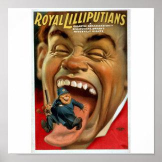 Poster del papel secundario del circo del vintage