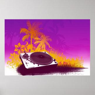 Poster del paraíso de la placa giratoria de DJ - p