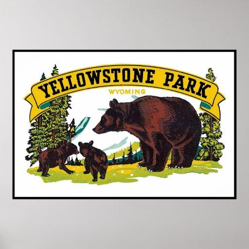Poster del parque de Yellowstone del vintage