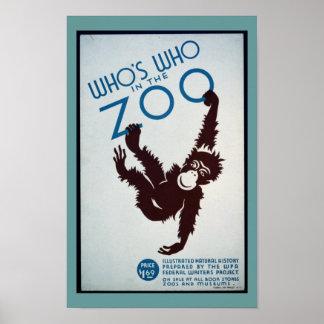 Poster del parque zoológico del mono del vintage