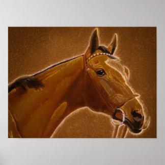 Poster del pastel de la tiza del caballo de Brown Póster