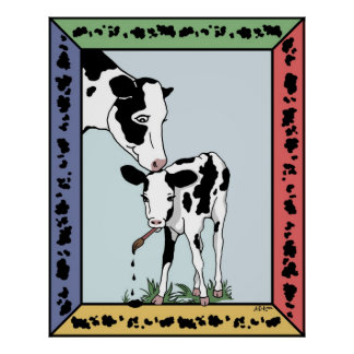 Poster del pastel del artista de la vaca