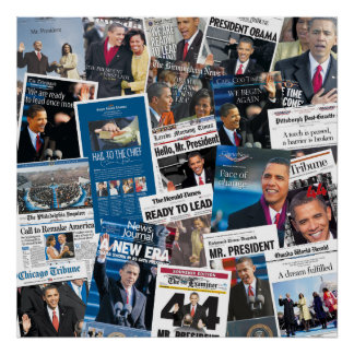 Poster del periódico de la inauguración de Obama