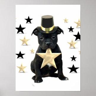 Poster del perrito de Staffordshire bull terrier