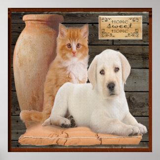 poster del perrito y del gatito