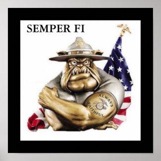 Poster del perro de diablo de Semper Fi