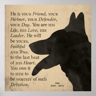 Poster del perro de pastor alemán del vintage de