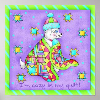 Poster del perro del amante del edredón