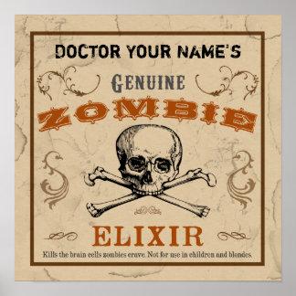 Poster del personalizable del elixir del zombi