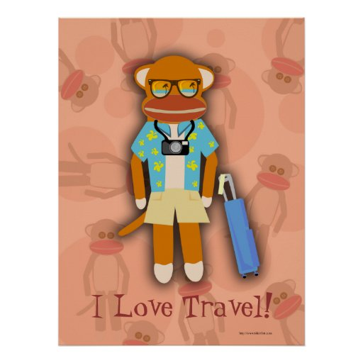 Poster del personalizable del mono del calcetín qu
