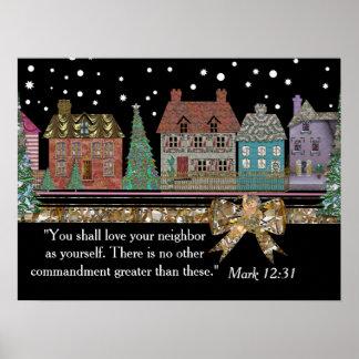 Poster del personalizable del pueblo del navidad
