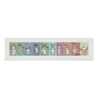 Poster del personalizado de 10 conejos del arco ir