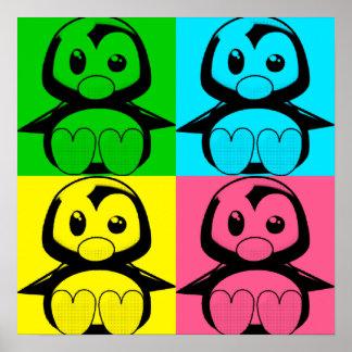 Poster del pingüino de Tux del arte pop pequeño