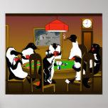 Poster del pingüino del póker